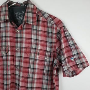 Men's Kuhl short sleeve button up shirt red S